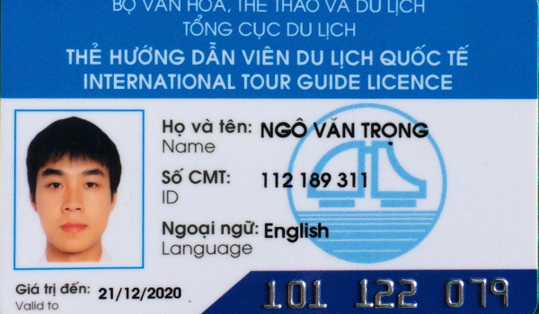 Tour guide international license of our tour guide (Mr Van Trong Ngo)
