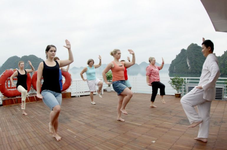 Tai chi in Halong bay
